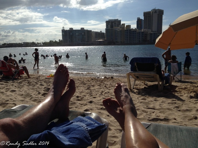 Relaxing on the beach at the Condado Plaza-Hilton